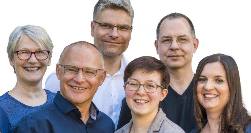Grüne Kandidat*innen für die Kommunalwahl am 26. Mai: vorne Andreas Körner, Claudia, Stölzel und Michaela Lindovsky; hinten Christine Schütz, Andreas Zander und Robert Bausdorf (v.l.n.r.).